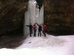 Claire, Caitlan, Sondra, and Rachel enjoying the Ice Cave!