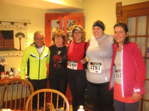 Our marathon and half marathon guests--Roy, Randi, Charlene, Chrissy, and Rebecca